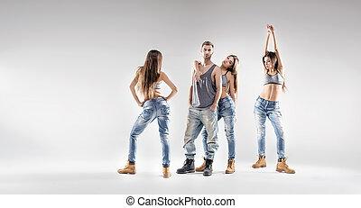 hübsch, tänzer, mit, hübsch, damen