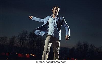hübsch, und, elegant, mann, tragen, blaue jacke