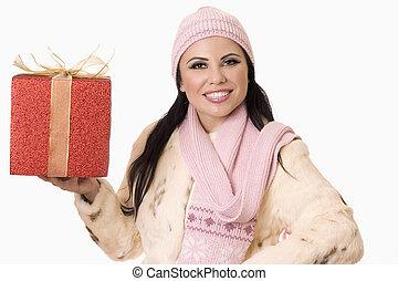 hübsche frau, mit, geschenk, (or, dein, product)
