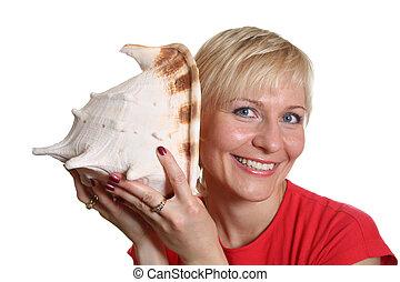 hübsche frau, mit, seashell