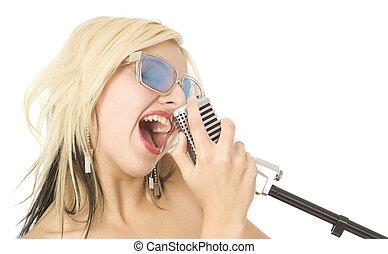 hübsche frau, oder, m�dchen, musik, s�nger, mit, mikrophon, und, sonnenbrille, weiß