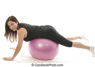 hübsche frau, trainieren, kern, training, kugel, push-ups