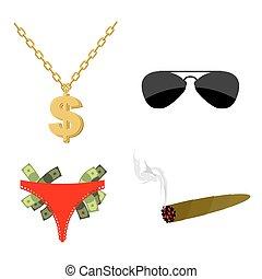 hüfte, chain., cigar., satz, sonnenbrille, hopfen, accessory., geld., musicians., dollarzeichen, pimps, rapper, los, attributes, schlüpfer, strippers