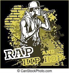 hüfte, städtisch, rapper, -, abbildung, vektor, hopfen