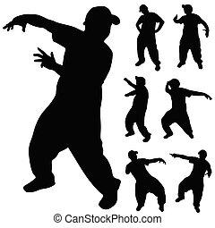 hüfte, tänzer, silhouette, hopfen