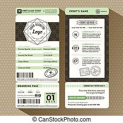 hüfthose, design, bordkarte, fahrschein, ereignis, einladung, karte, schablone