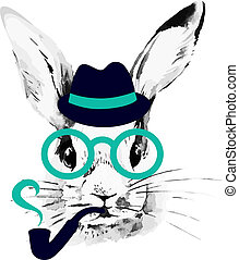 hüfthose, rabbit., hand, gezeichnet, aquarell, skizze,...