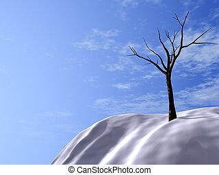 hügel, himmelsgewölbe, bäume, schlafend, brightly-blue,...
