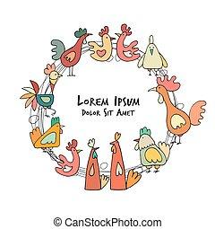 hühnerhaus, skizze, hähne, design, hennen, dein