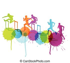 hürden, begriff, sperre, maenner, rennender , abbildung, silhouetten, vektor, hintergrund, aktive, athletik, sport