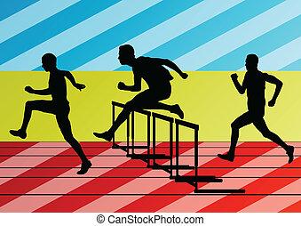 hürden, sperre, maenner, silhouetten, abbildung, rennender , vektor, sammlung, hintergrund, aktive, athletik, sport
