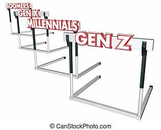 hürden, x, generation, boomers, z, gen, abbildung, millennials, 3d