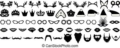 hüte, bart, illustration., kokoshnik, foto, set., lippen, brille, neu , krone, vektor, stand, (christmas), jahr, party, mask., props., geweih