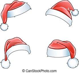 hüte, glänzend, santa