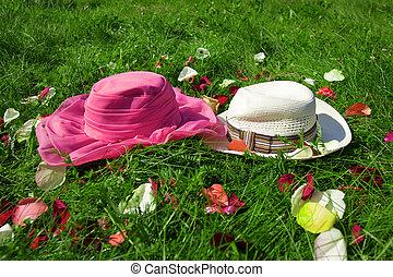 hüte, gras, grüner hintergrund