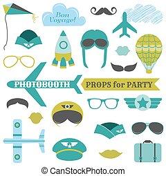 hüte, satz, brille, -, masken, vektor, schnurrbärte, photobooth, stützen, ebenen, party, motorflugzeug