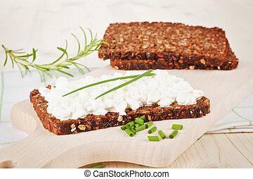 hütte, cheese., schwarz, bread