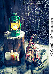 hütte, hygge, philosophie, winter, retro