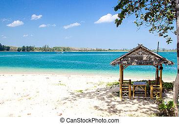 hütte, sandstrand, tourismus, wasserlandschaft