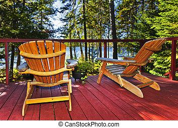 hütte, stühle, wald, deck