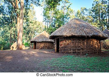 hütte, traditionelle , stammes-, kenianer, leute