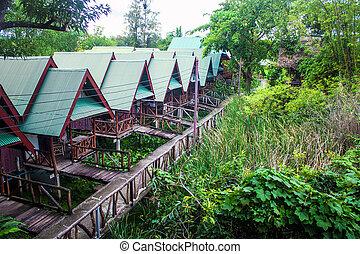 hütten, oben, wasser, in, kanchanaburi, thailand