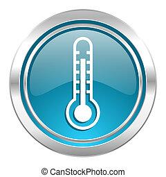 hőmérséklet, aláír, ikon, lázmérő