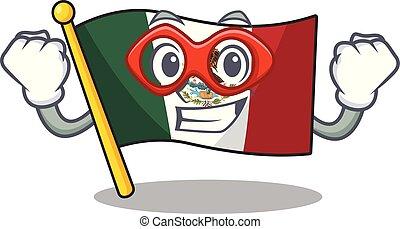 hős, alakú, mexikó, betű, lobogó, szuper, kabala