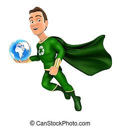 hős, földdel feltölt, birtok, repülés, zöld blue, 3