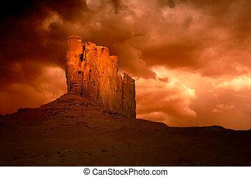 hříšný, údolí, arizona, bouře, pomník