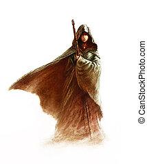 hůl, -, čarodějnice, manželka, čepec, kouzelnictví, plášť, mládě, překrásný, majetek, fantazie