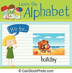 h, święto, litera, flashcard