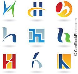 h, abstrakcyjny, litera, ikony