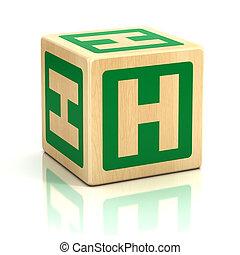 h, alfabet, lettertype, brief, blokje