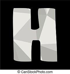 H alphabet letter isolated on black