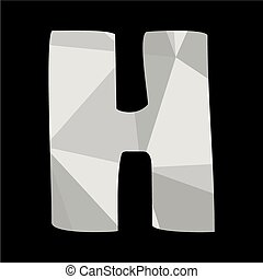 H alphabet letter isolated on black
