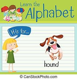 h, cane da caccia, lettera, flashcard