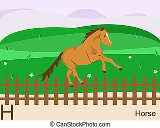 h, cavalo, animal, alfabeto