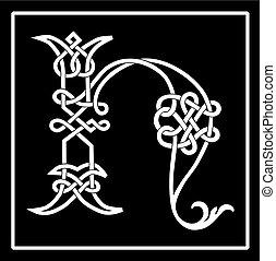 h, celtico, knot-work, lettera, capitale