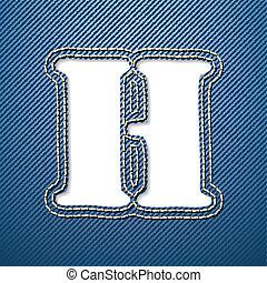 h, dżinsy drelichu, litera