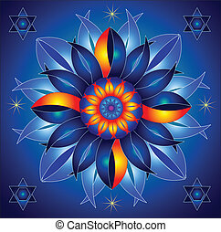 h, energía, mandala, cósmico, talismán