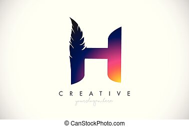 H Feather Letter Logo Icon Design With Feather Feathers Creative Look Vector Illustration