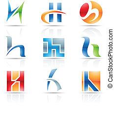 h, glanzend, brief, iconen