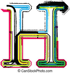 h, grunge, barwny, litera