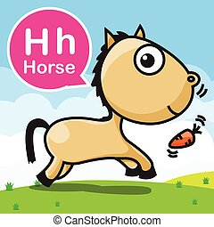 H Horse color cartoon and alphabet for children to learning  vector illustration eps10