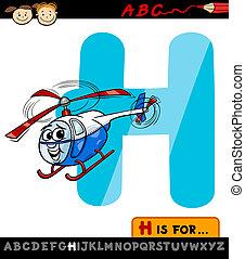h, ilustración, carta, helicóptero, sombrero, caricatura