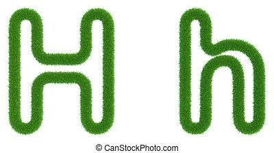 h, isolé, arrière-plan., vert, lettre, frais, blanc, herbe
