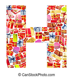 H Letter - Alphabet made of giftboxes