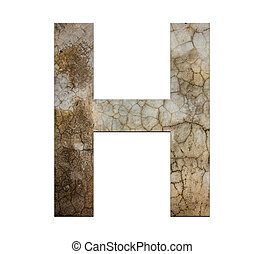 h letter cracked cement texture isolate