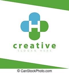 H Letter Cross Medical Logo vector Template